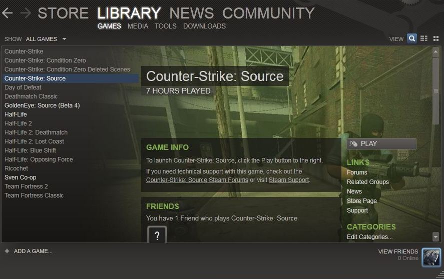 Screenshot of the Steam gaming platform